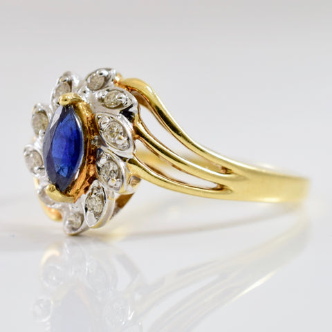 Floral Sapphire and Diamond Bypass Ring | 0.10 ctw SZ 9 |