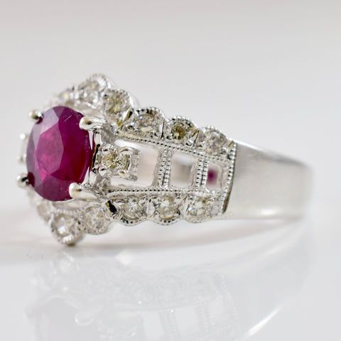 Intricate Diamond and Ruby Ring | 0.22 ctw SZ 5.25 |