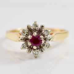 High Set Floral Diamond Cluster and Ruby Ring | 0.06 ctw SZ 7.5 |