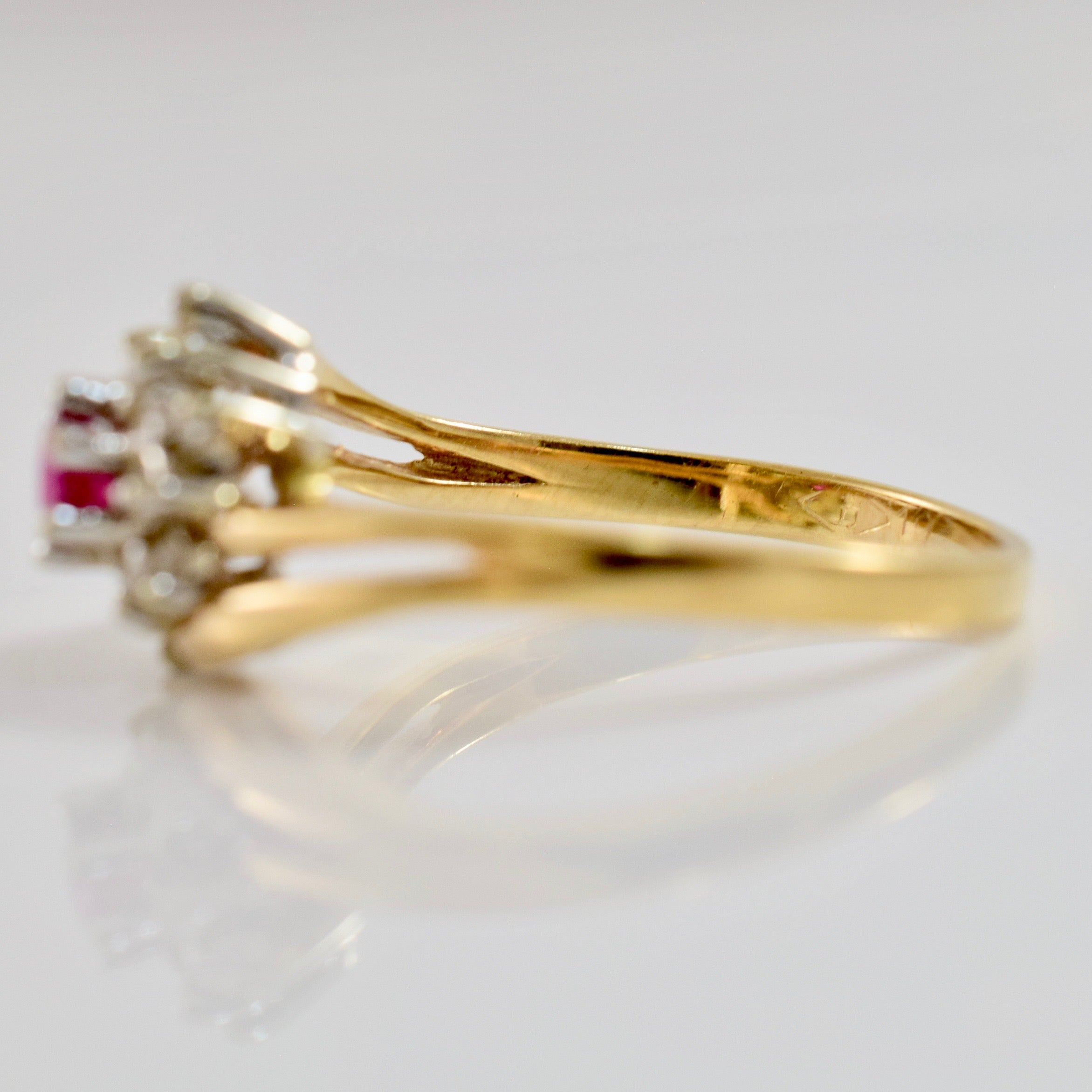 Diamond and Ruby Bypass Ring | 0.10 ctw SZ 5.5 |