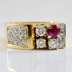 High Set Diamond Cluster and Ruby Ring | 1.0 ctw SZ 8.25 |