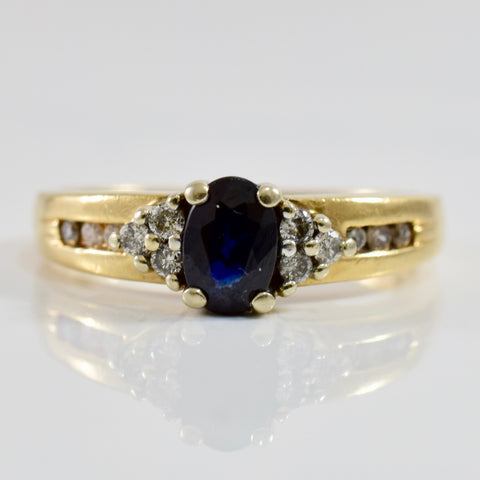 Sapphire and Diamond Accent Ring | 0.12 ctw SZ 6 |