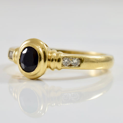 Bezel Set Sapphire and Diamond Accent Ring | 0.10 ctw SZ 8.5 |