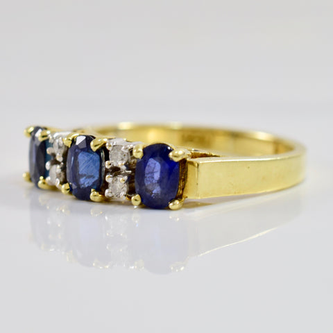 Oval Sapphire and Diamond Ring | 0.06 ctw SZ 6 |