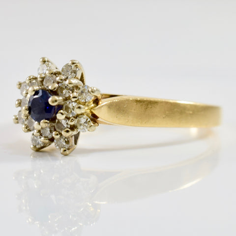 Diamond Cluster and Sapphire Ring | 0.22 ctw SZ 6.75 |