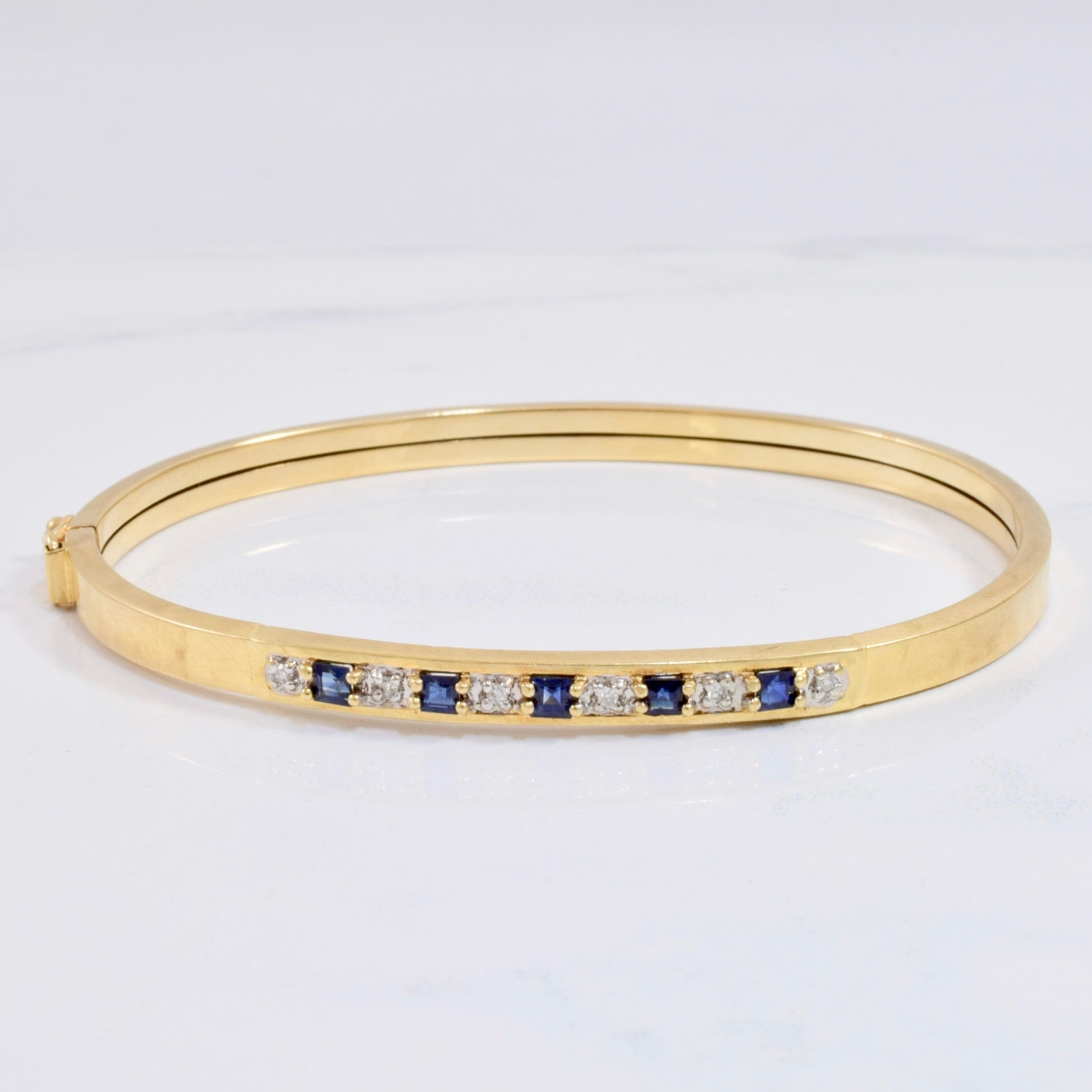 Sapphire and Diamond Bangle | 0.06 ctw SZ 8"