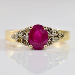 Ruby Ring With Diamond Cluster Flank | 0.16 ctw SZ 6 |