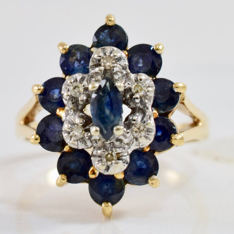 Diamond and Sapphire Cluster Ring | 0.05 ctw SZ 7.5 |