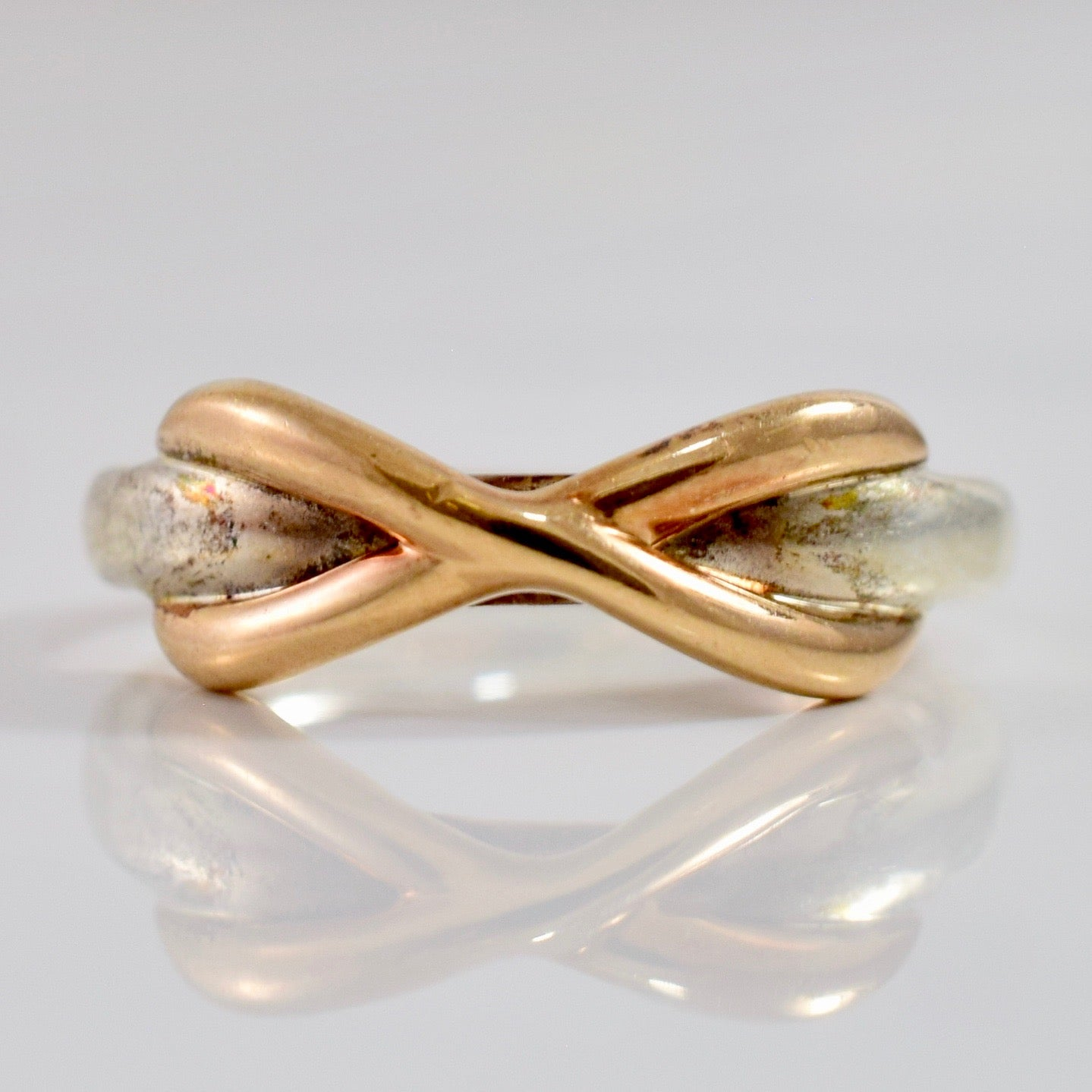 Tiffany Rose Gold and Silver Infinity Ring | SZ 2.5 |
