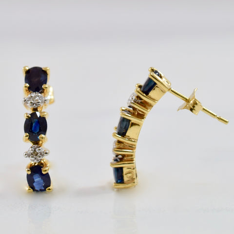Sapphire and Diamond Drop Stud Earrings | 0.02 ctw |