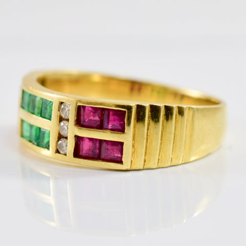 Multi Coloured Gemstone Ring | 0.06 ctw SZ 6.25 |