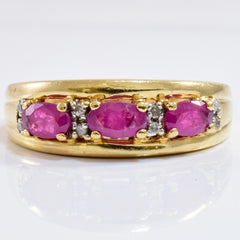 Ruby and Diamond Ring | 0.04 ctw SZ 7.5 |