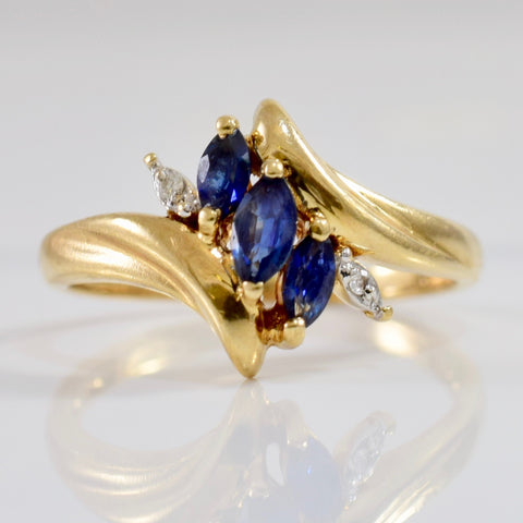 Bypass Sapphire and Diamond Ring | 0.01 ctw SZ 6 |