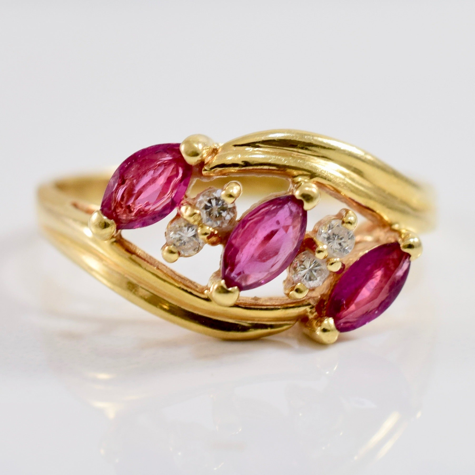 Bypass Diamond and Ruby Ring | 0.08 ctw SZ 6.5 |