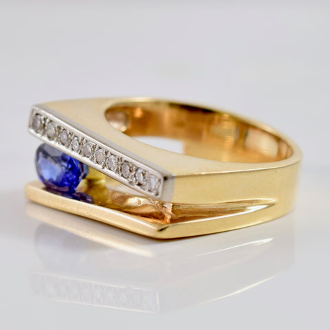 Split Diamond and Sapphire Ring | 0.12 ctw SZ 7 |