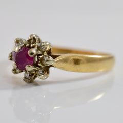 High Set Ruby and Diamond Cluster Ring | 0.08 ctw SZ 6.25 |