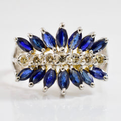 Sapphire and Diamond Cluster Ring | 0.21 ctw SZ 7 |