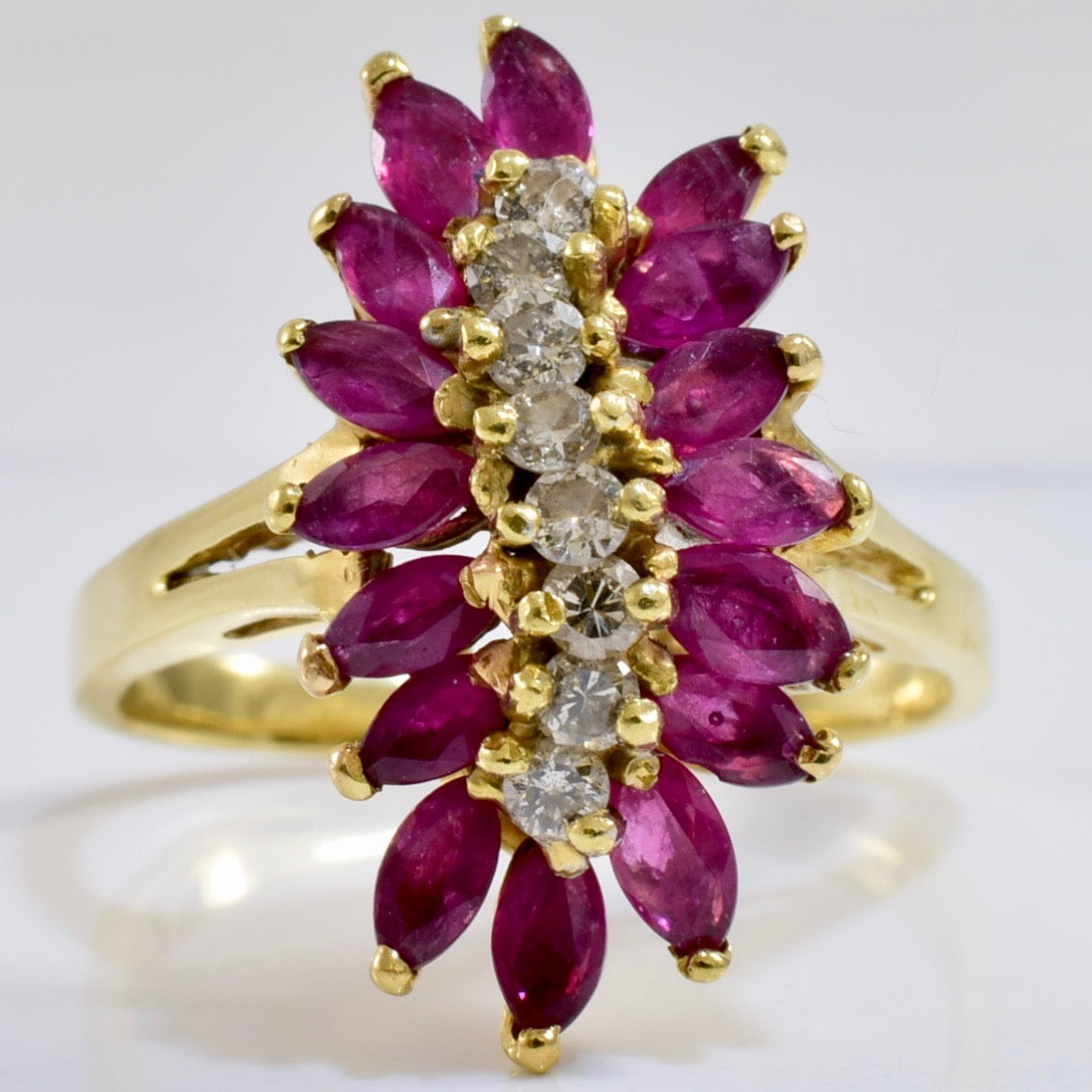 Diamond and Ruby Cluster Ring | 0.24 ctw SZ 7 |