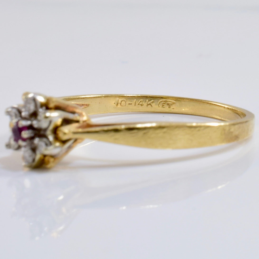 Diamond and Ruby RIng | 0.05 ctw SZ 6.5 |