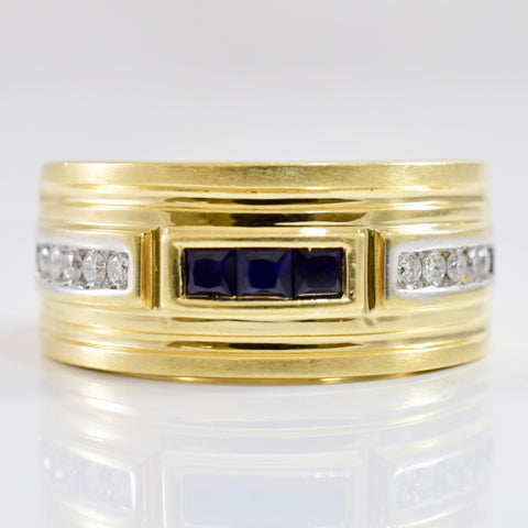 Channel Set Sapphire and Diamond Ring | 0.20 ctw SZ 10 |