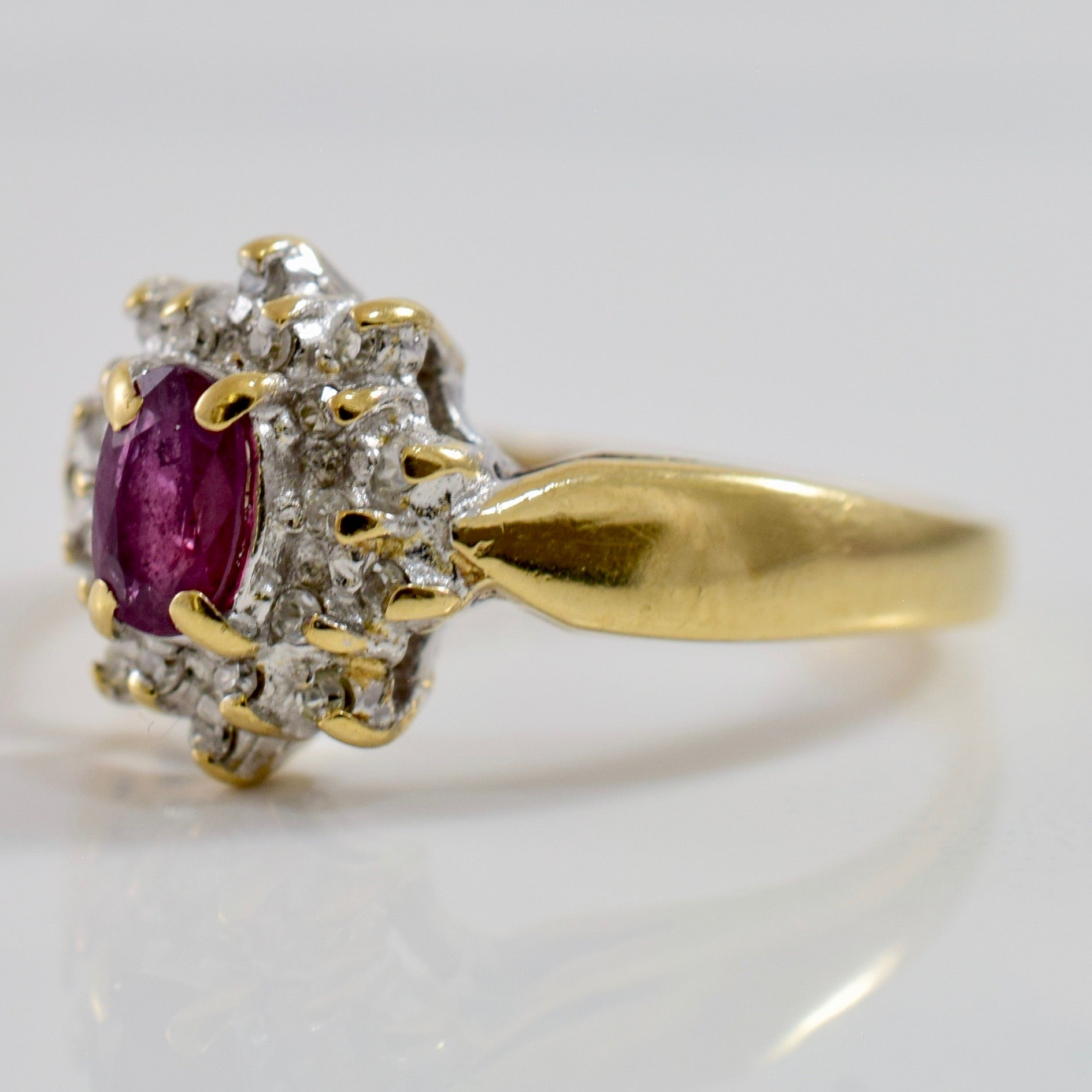 Diamond Cluster and Ruby Ring | 0.05 ctw SZ 5.25 |