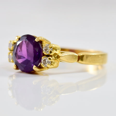 Purple Sapphire and Diamond Ring | 0.08 ctw SZ 7.25 |