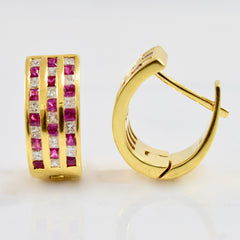Ruby and Diamond Checkered Earrings | 0.45 ctw |