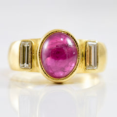 Bezel Set Ruby and Diamond Ring | 0.20 ctw SZ 6 |