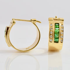 Bezel Set Emerald and Diamond Earrings | 0.20 ctw |