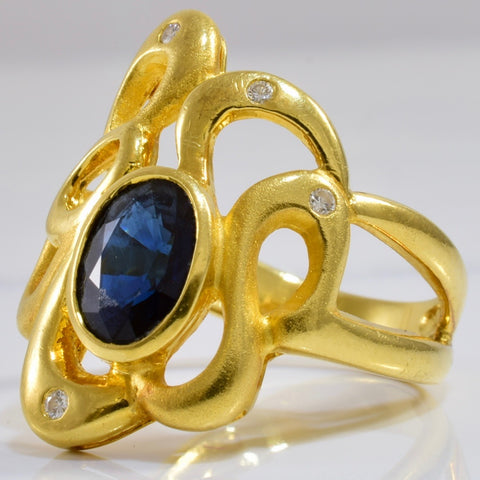 Freeform Diamond and Sapphire Ring | 0.04 ctw SZ 6.5 |
