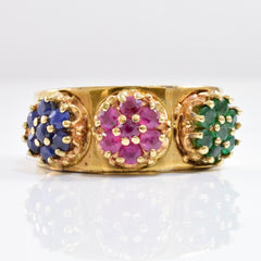 Emerald, Ruby, and Sapphire Cluster Ring | SZ 7 |