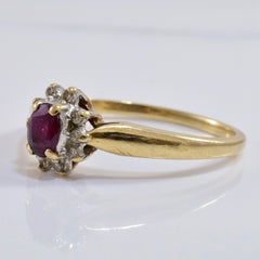 Ruby and Diamond Cluster Ring | 0.05 ctw SZ 8 |
