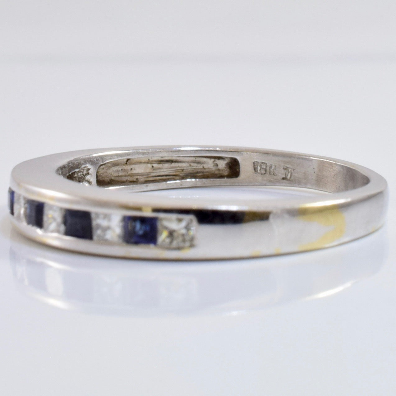 Channel Set Diamond and Sapphire Ring | 0.18 ctw SZ 6 |