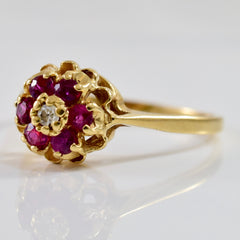 High Set Floral Diamond and Ruby Ring | 0.03 ctw SZ 9 |