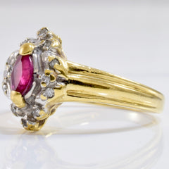 Ruby and Diamond Ring | 0.06 ctw SZ 6.5 |