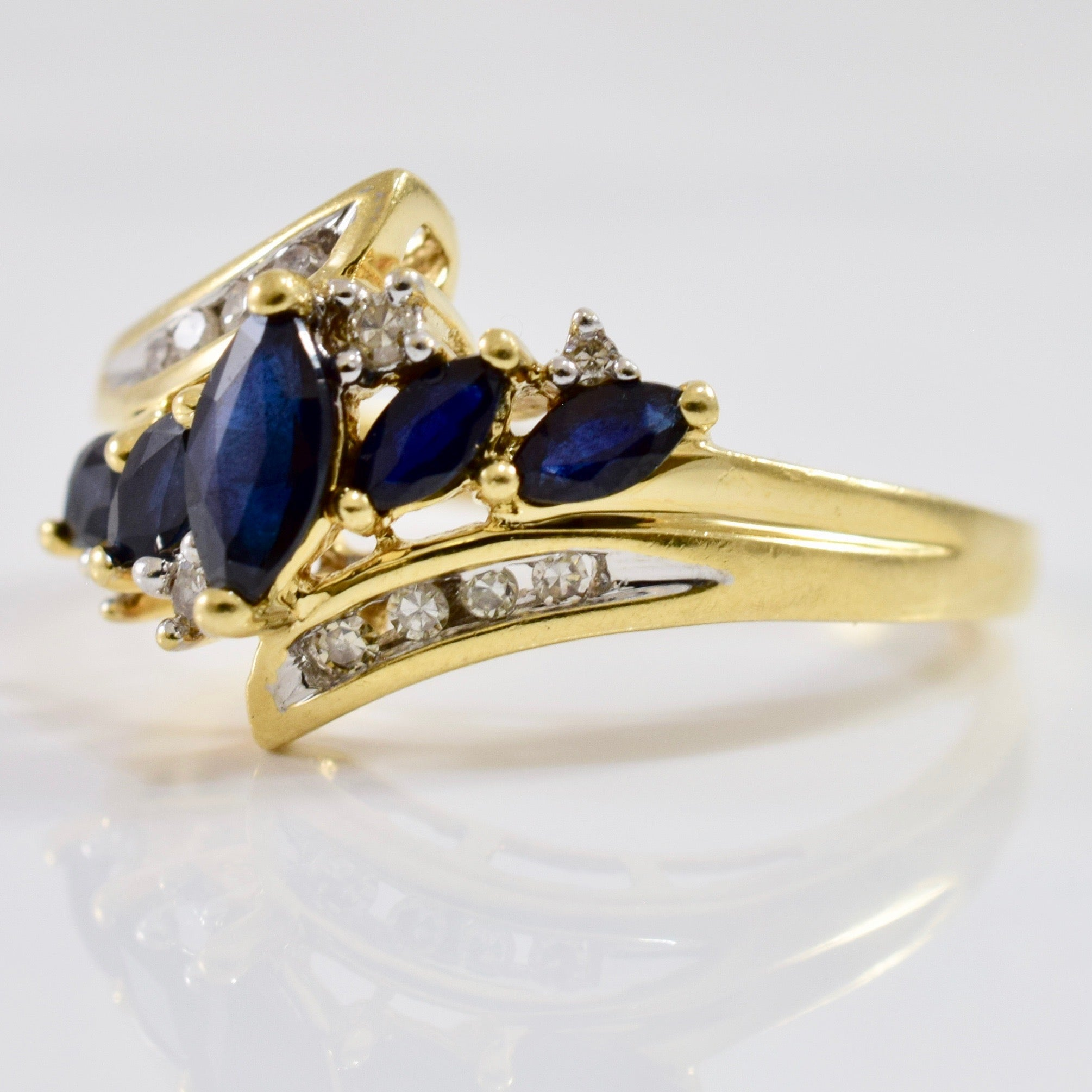 Bypass Diamond and Sapphire Ring | 0.10 ctw SZ 7.25 |