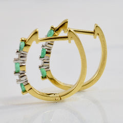 Alternating Emerald and Diamond Hoop Earrings | 0.02 ctw |