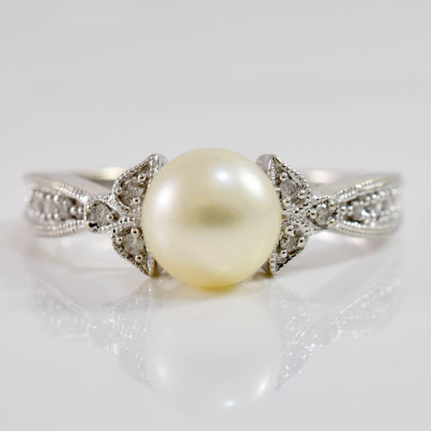 Elegant Pearl and Diamond Ring | 0.03 ctw SZ 7.25 |