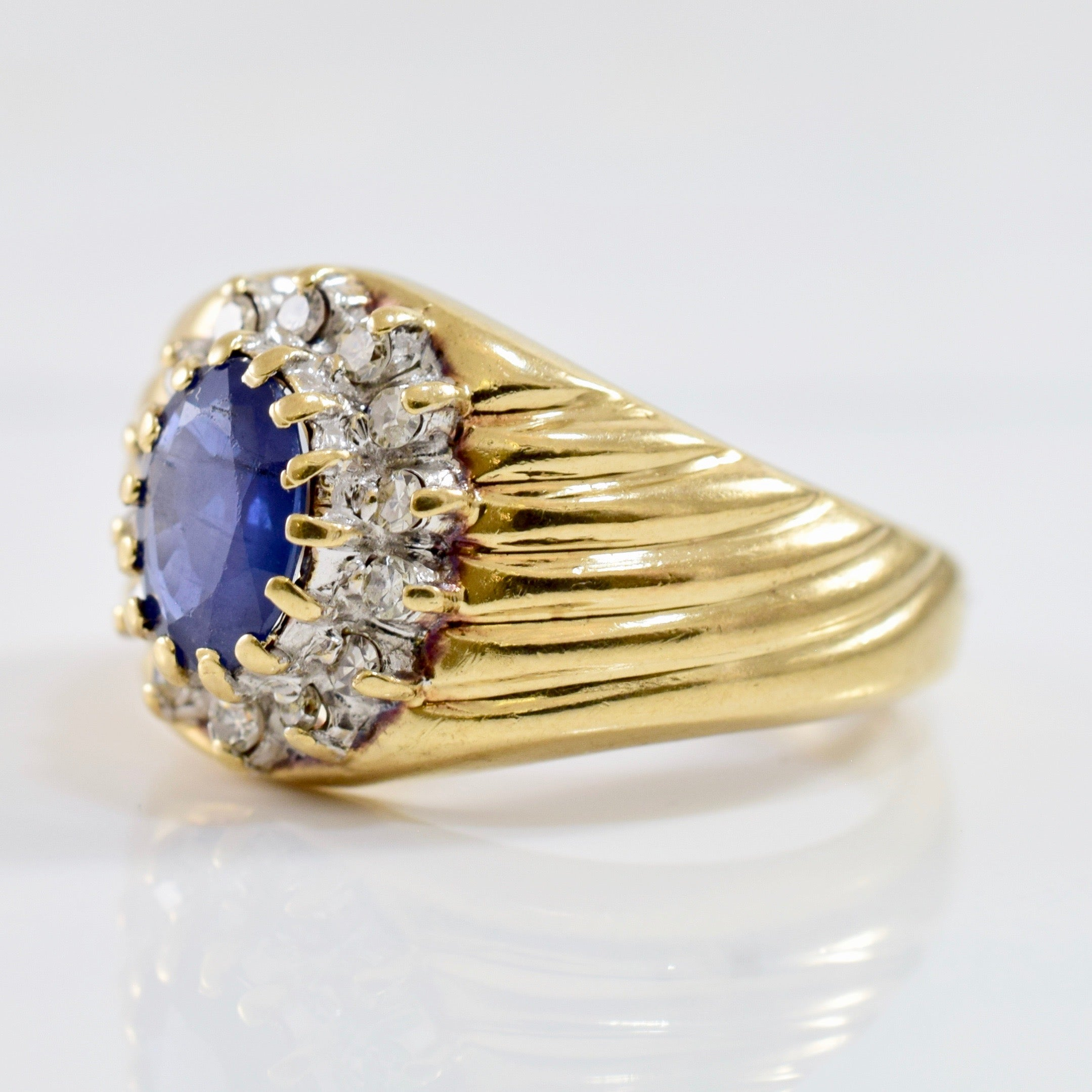 Textured Diamond Cluster and Sapphire Ring | 0.14 ctw SZ 5.5 |