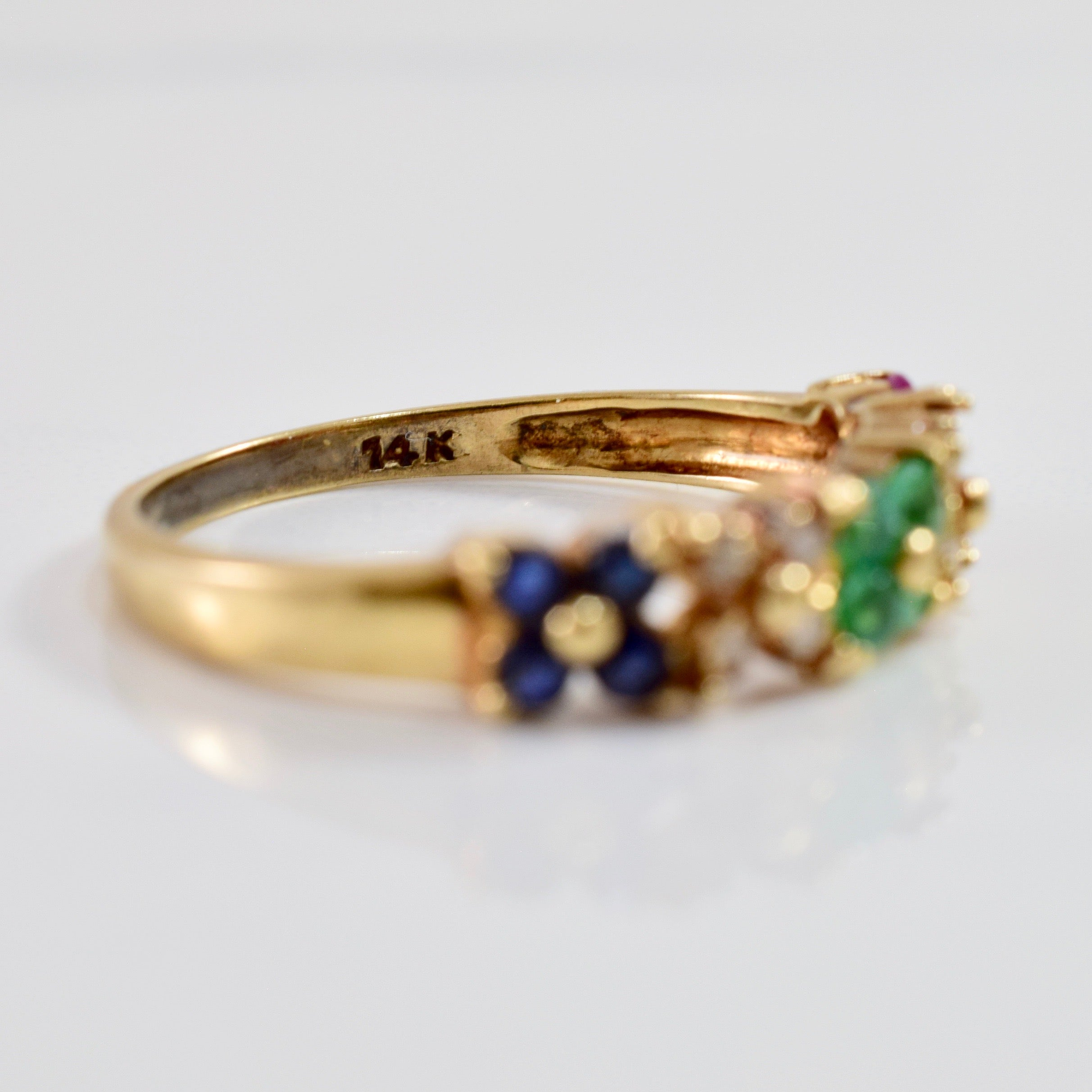 Floral Multi Gem Ring | 0.07 ctw SZ 7.25 |