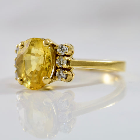 Yellow Sapphire and Diamond Ring | 0.15 ctw SZ 7.5 |