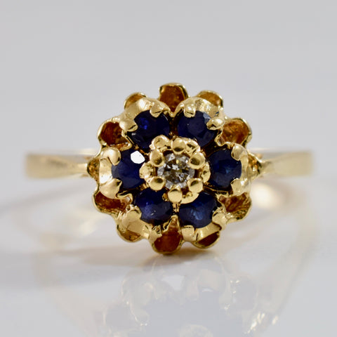 High Set Floral Sapphire and Diamond Ring | 0.03 ctw SZ 6 |