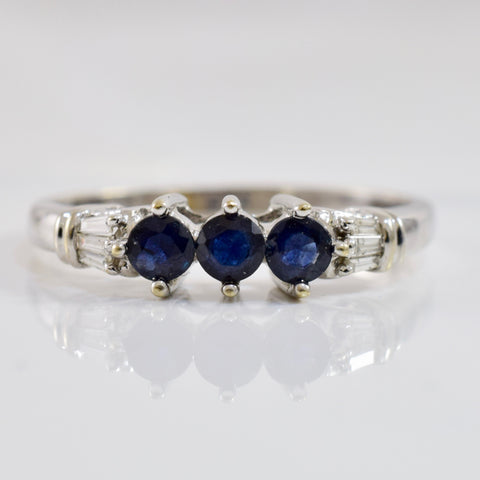 Three Stone Sapphire and Diamond Ring | 0.03 ctw SZ 10.5 |