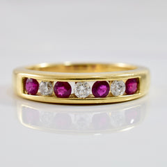 Channel Set Ruby and Diamond Band | 0.16 ctw SZ 7 |