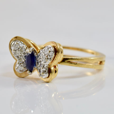 Diamond Cluster and Sapphire Butterfly Ring | 0.21 ctw SZ 6.25 |