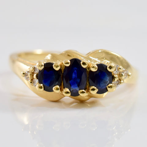 Three Stone Sapphire and Diamond Ring | 0.05 ctw SZ 6.5 |