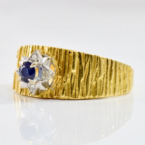 Textured Diamond and Sapphire Ring | 0.04 ctw SZ 8.75 |