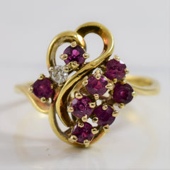 Bypass Diamond and Ruby Cluster Ring | 0.03 ctw SZ 6.5 |