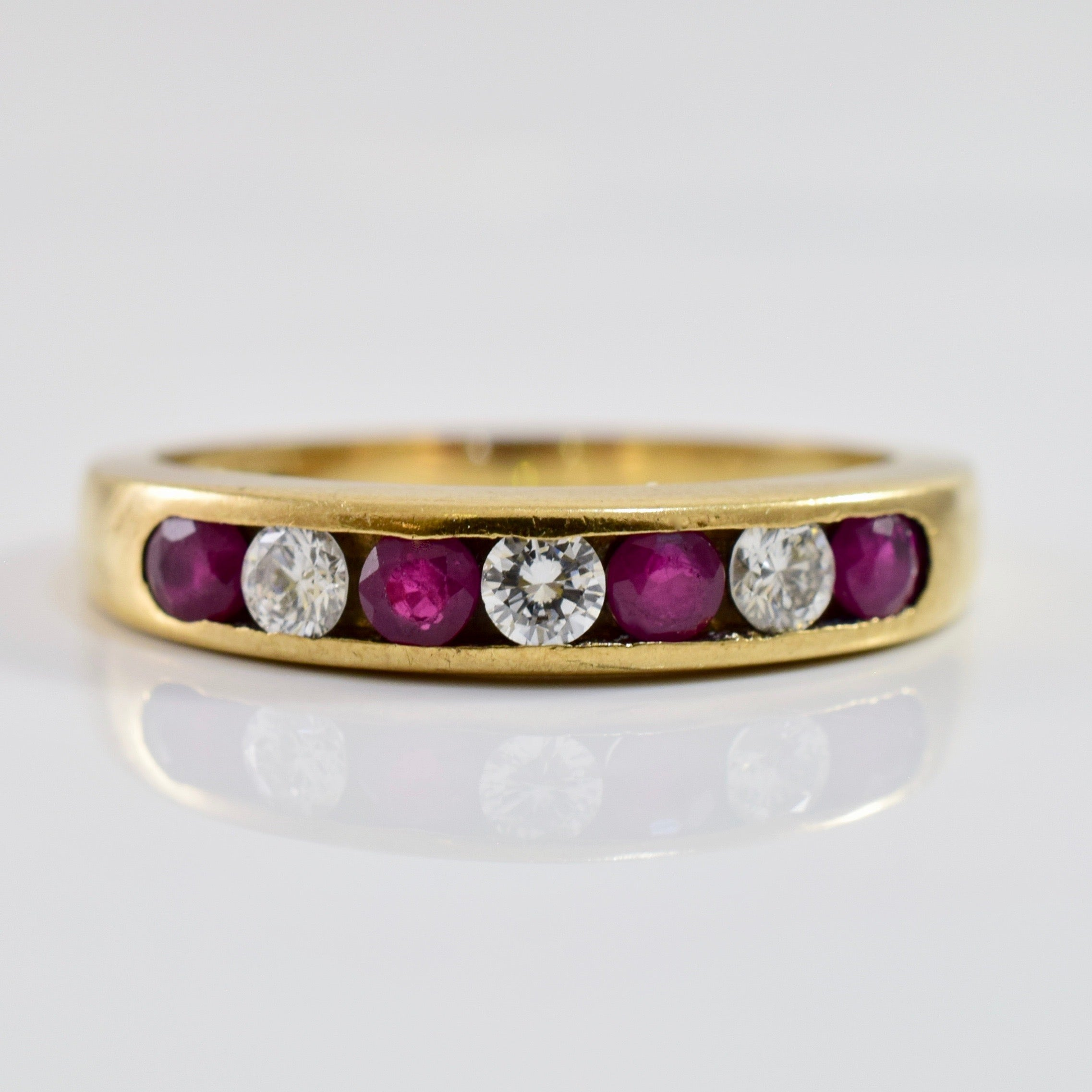 Channel Set Diamond and Ruby Ring | 0.16 ctw SZ 6 |