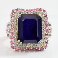 Prong Set Sapphire Ring with Diamond and Tourmaline Cluster | 0.50 ctw SZ 7.25 |